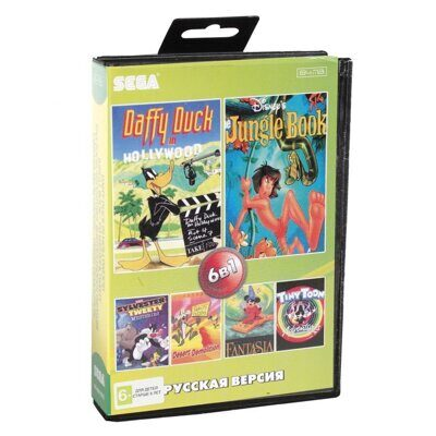Картридж Sega 6в1  BS-6001  Daffy Duck / Jungle Book  / Sylwester & Tweety +..